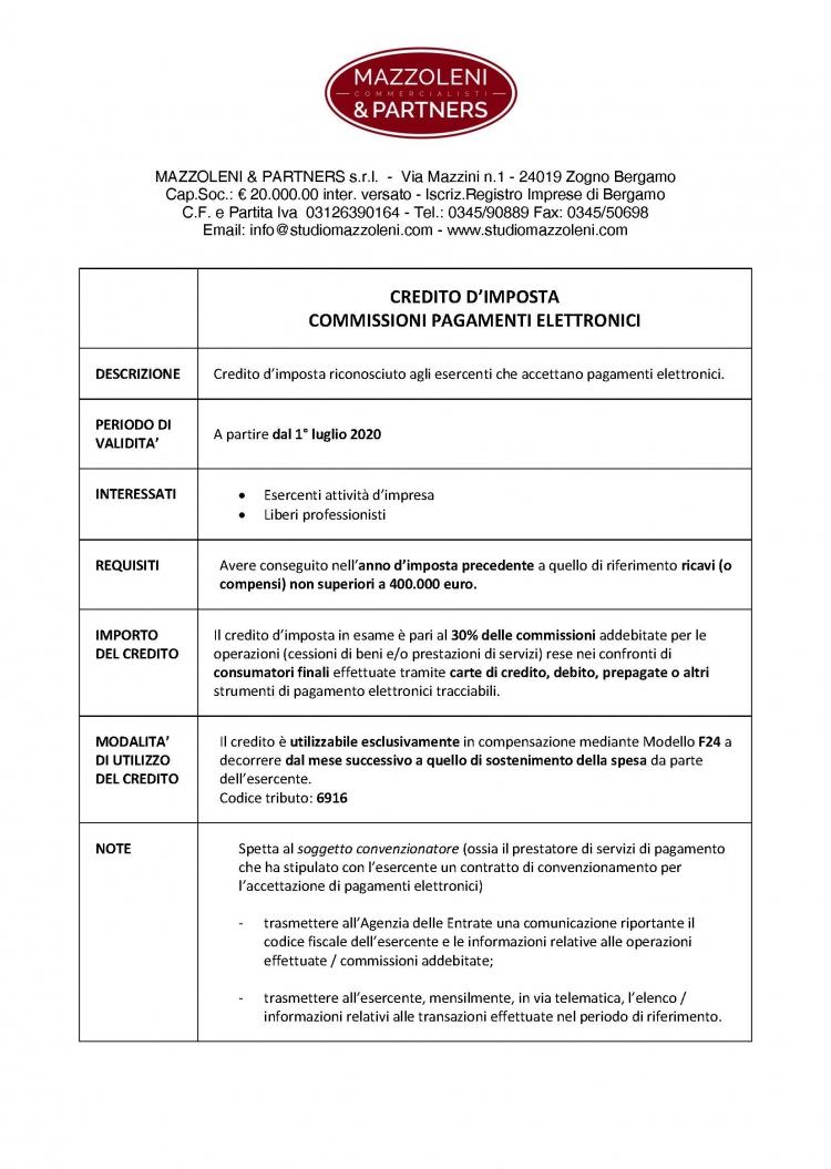 Prospetto di Sintesi - Credito Imposta Commissioni Pag. Elettr_